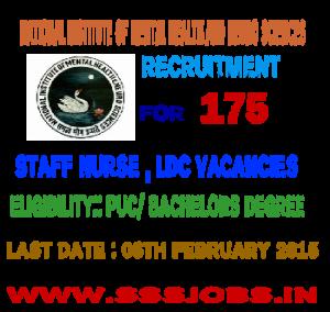 NIMHANS Recruitment 2015 for 175 Staff Nurse , LDC Vacancies