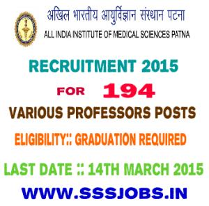 AIIMS Patna Recruitment 2015 for 194 Various Professors Posts