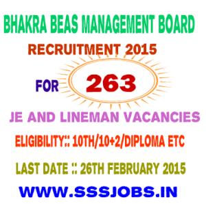 BBMB Recruitment 2015 for 263 JE and Lineman Vacancies