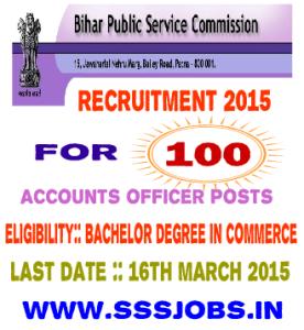 Bihar PSC Recruitment 2015 for 100 Accounts Officer Posts