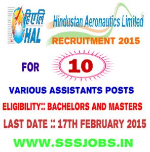 Hindustan Aeronautics Limited Recruitment 2015 for 10 Posts