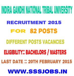 Indira Gandhi National Tribal University Recruitment 2015 for 82 Posts