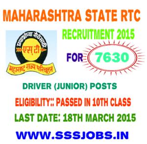 Maharashtra State RTC Recruitment 2015 for 7630 Driver Posts