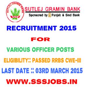 Sutlej Gramin Bank Recruitment 2015 for 41 Various Officer Posts