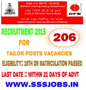 OCFS Shahjahanpur Recruitment 2015 for 206 Tailor Posts Vacancies
