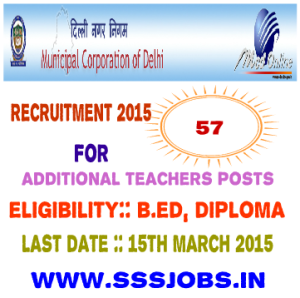 Municipal Corporation of Delhi Recruitment 2015 for 57 Vacant Posts
