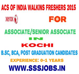 ACS of India Walkin Freshers 2015 Batch – B.Sc, BCA, Post Graduation
