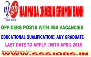 Narmada Jhabua Gramin Bank Recruitment 2015 for 350 Officers Posts