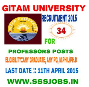 GITAM University Recruitment Notification 2015 for 34 Professors