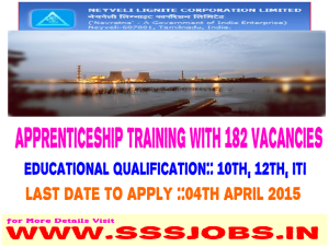 Neyveli Lignite Corporation Ltd Recruitment 2015 for 182 Apprentice Vacancy
