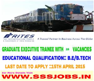 Indian Railway Recruitment 2015 for 28 Graduate Executive Trainees