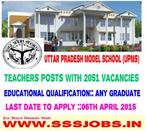 Uttar Pradesh Model School Recruitment 2015 for 2051 Vacancies