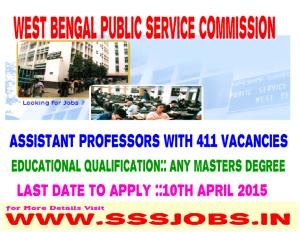 West Bengal PSC Recruitment 2015 for 411 Assistant Professors