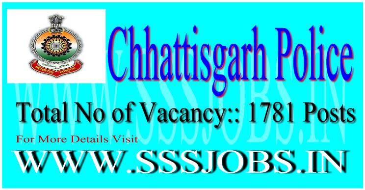 Chhattisgarh Police Recruitment Notification 2015 for 1781 Vacancy