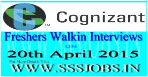 Cognizant Freshers Walkin Recruitment on 20th April 2015