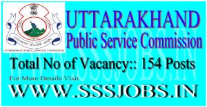 Uttarakhand PSC Recruitment Notification 2015 for 154 Vacancies