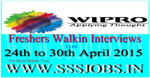 Wipro Freshers Mega Walkin Recruitment on 24th to 30th April 2015