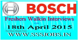 Robert Bosch Freshers Walkin Recruitment on 18th April 2015