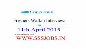 Capgemini Freshers Walkin for Recruitment on 11th April 2015
