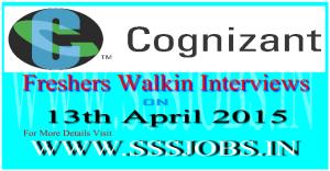 Cognizant Freshers Walkin Recruitment on 13th April 2015