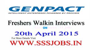 Genpact Freshers Walkin Recruitment on 20th April 2015