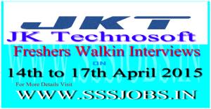 JK Technosoft Freshers Walkin Recruitment on 14th to 17th April 2015