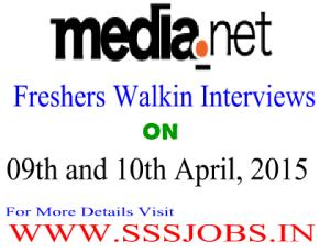 Media.net Freshers Walkin for Recruitment on April 09th-10th 2015