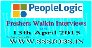 PeopleLogic Freshers Walkin Recruitment on 13th April 2015