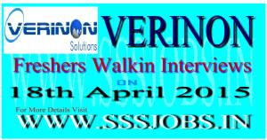 Verinon Technology Freshers Walkin Recruitment on 18th April 2015