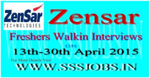 Zensar Technologies Walkin Recruitment on 13th-30th April 2015
