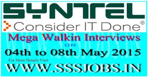 Syntel Freshers Mega Walkin Recruitment on 04th to 08th May 2015