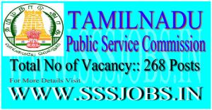 Tamil Nadu Public Service Commission Recruitment 2015 for 268 Posts