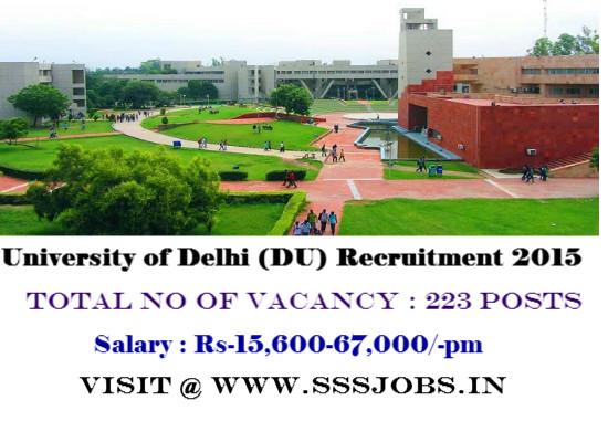 University of Delhi (DU) Recruitment 2015